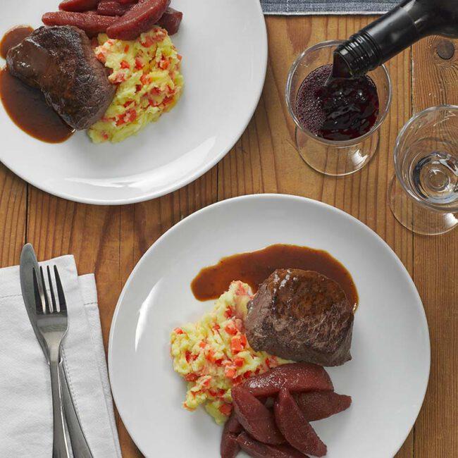 Biefstuk wortelstamp met stoofperen